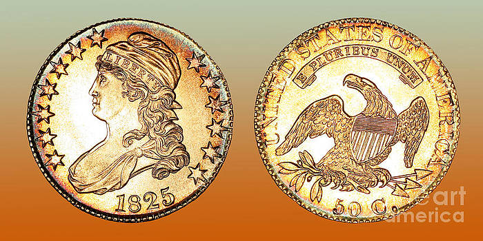 1825 Rainbow Capped Bust Half Dollar  by Jim Carrell