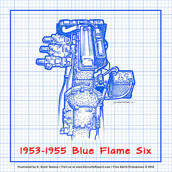 1953-1955 Corvette Blue Flame Six Engine Reverse Blueprint by K Scott Teeters