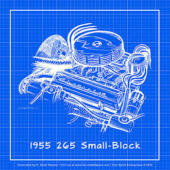 1955 265 Small Block Chevy Corvette Engine Reverse Blueprint by K Scott Teeters