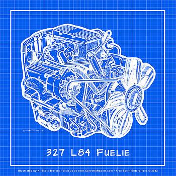 1963 - 1965 L84 327 Corvette Fuelie Engine Reverse Blueprint by K Scott Teeters