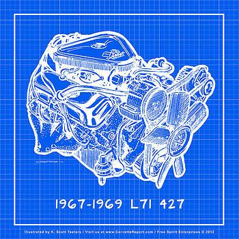 1967 - 1969 L71 427-435 Corvette Engine Reverse Blueprint by K Scott Teeters