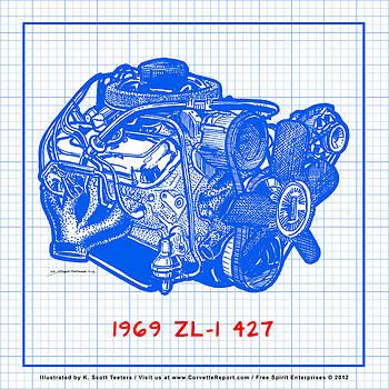 1969 427 ZL-1 Corvette Racing Engine Blueprint by K Scott Teeters