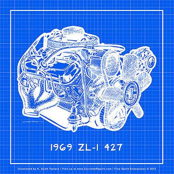 1969 427 ZL-1 Corvette Racing Engine Reverse Blueprint by K Scott Teeters