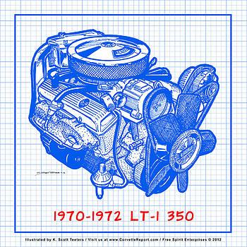 1970 - 1972 LT-1 Corvette Engine Blueprint by K Scott Teeters