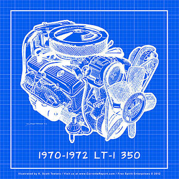 1970 - 1972 LT-1 Corvette Engine Reverse Blueprint by K Scott Teeters