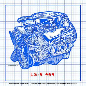 1970 LS5 454 Big-Block Corvette Engine Blueprint by K Scott Teeters