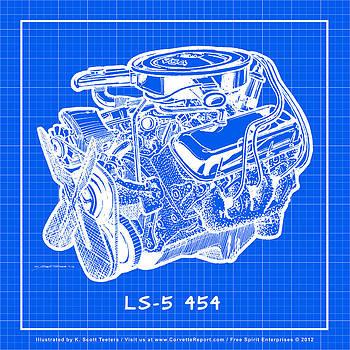1970 LS5 454 Big-Block Corvette Engine Reverse Blueprint by K Scott Teeters