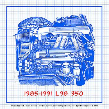 1985 - 1991 L98 Fuel-Injected Corvette Engine Blueprint by K Scott Teeters