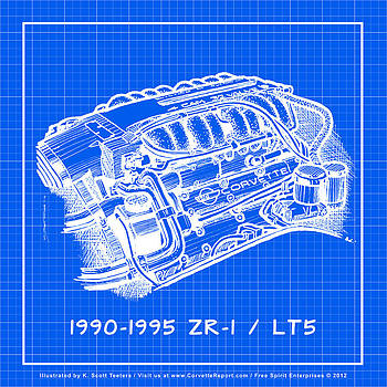 1990-1995 C4 ZR-1 LT5 Corvette Engine Reverse Blueprint by K Scott Teeters