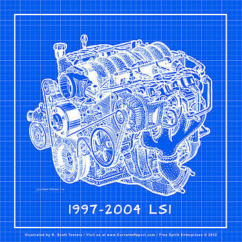 1997 - 2004 LS1 Corvette Engine Reverse Blueprint by K Scott Teeters