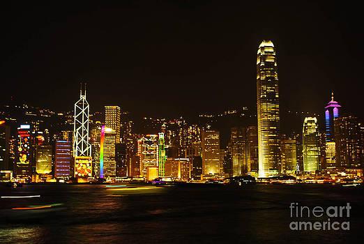 Hong Kong Skylight at dusk landscape The Symphony Of Light Citys by Jeng Suntorn niamwhan