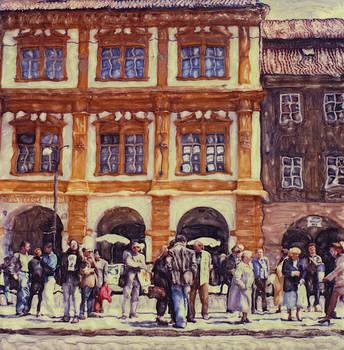 Prague Trolley Stop by Rod Huling