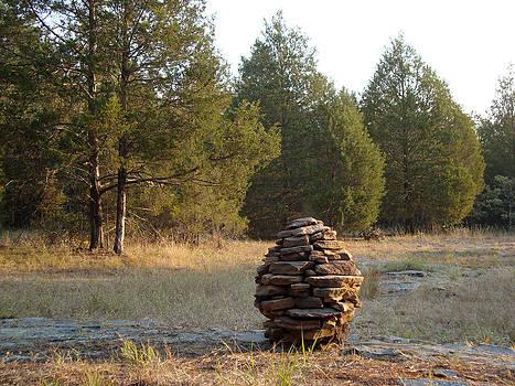 Adam Long - Homage to the Cedar Sandstone Cairn nature art Sculpture