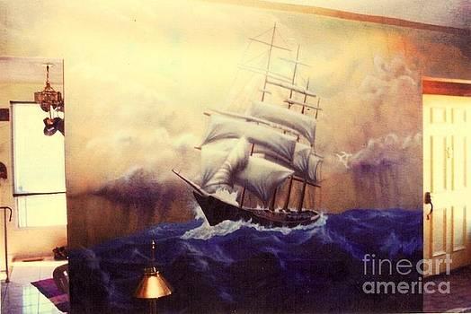 Ship at sea by Al  Brown