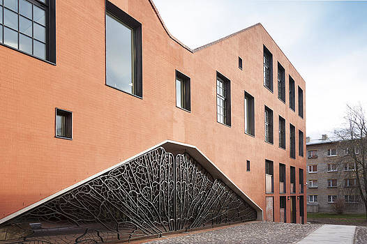 The New Building At Narva College Red by Jaak Nilson