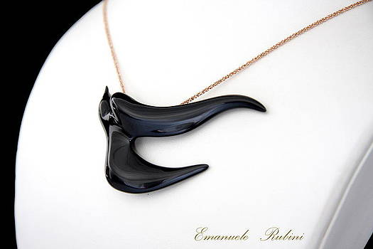 BLACK  SWALLOW Rondine Nera Unique Jewel of the Collection Dedicated to Amy Winehouse by Emanuele Rubini