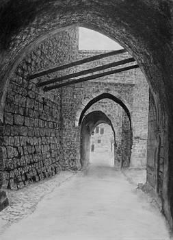 Jerusalem old street by Marwan Hasna - Art Beat