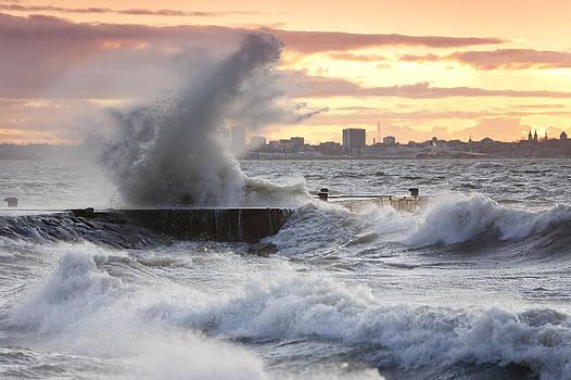 Tallinn Coastline And Stormy Seas by Jaak Nilson