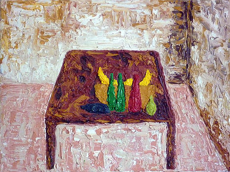 A Bowl Of Fruit On A Wooden Table by Peter Silkov
