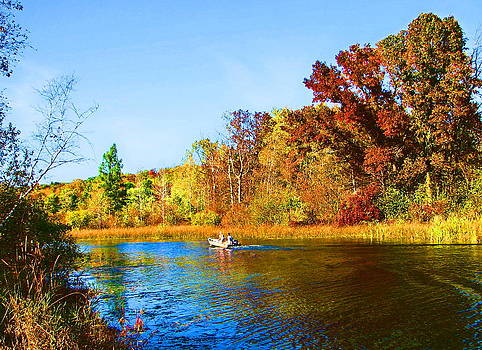 A Fall Day on Mt Morris Lake by Victoria Sheldon