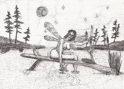 A Moment With The Moon... - Sketch by Robert Meszaros