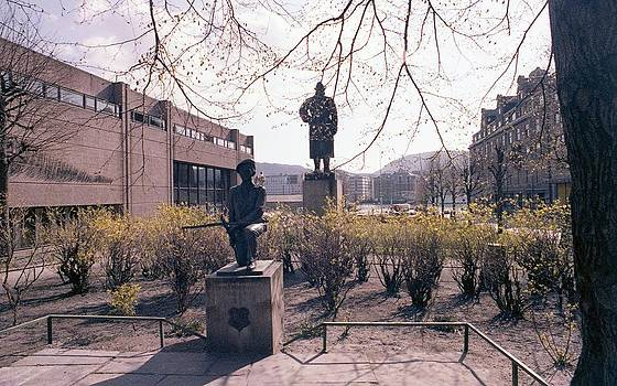 A  Park with Statures In Bergen Norway by Thomas D McManus