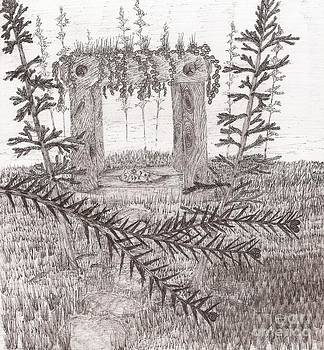 A Place For The Old Gods... - Sketch by Robert Meszaros