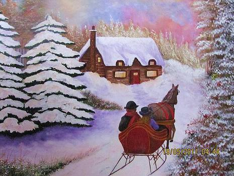 A ride in the snow by Bertha Hamilton