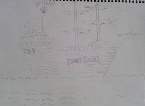 A Ship Sailing In The Sea by Miles The Artist