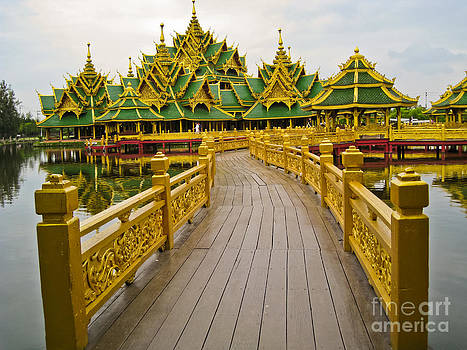 A Stunning And Beautiful Golden Temple At The Ancient Cities Mon by Wittaya Uengsuwanpanich