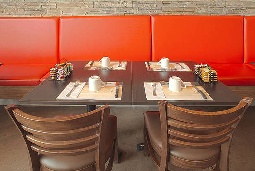 A Table For Four Red Banquette Seating by Charles Knox