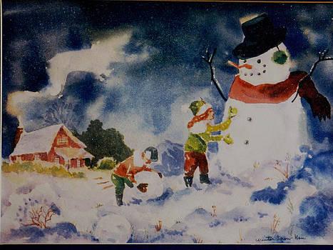 A Winter Snowman by Aileen Markowski