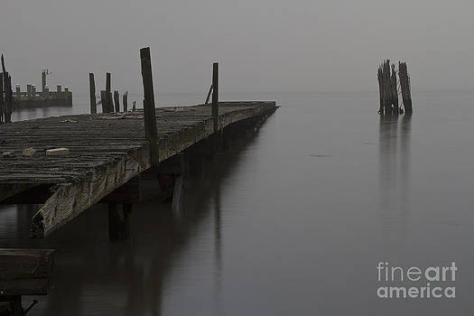 Abandoned pier 2 on the Hudson River one foggy morning. by Robert Wirth