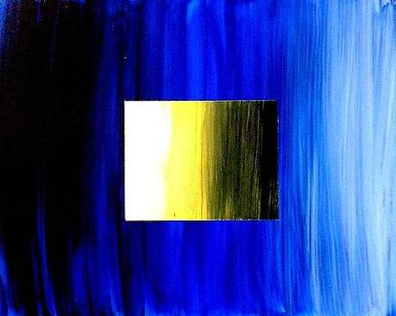 Abstract 3d Golden Blue  Square by Teo Alfonso