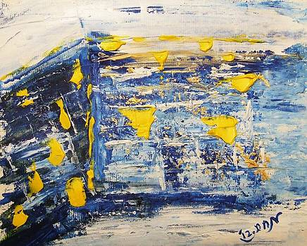 Abstract Kotel Prayer at the Western Wall Waiting for Peace in Blue Yellow Silver Jerusalem Israel  by M Zimmerman