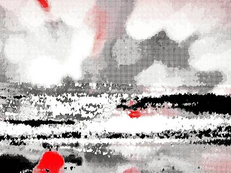 Abstract Seascape -- Black White Red by Brian D Meredith