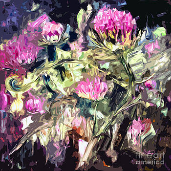Ginette Callaway - Abstract Thistles Modern Art Square Format