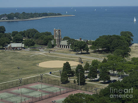 Aerial View Marovitz Golf Course and Lake Michigan Chicago by Linda Matlow