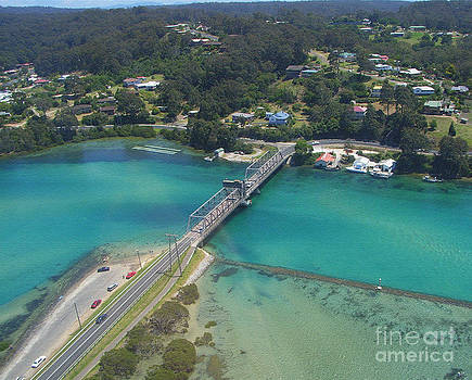 Aerial View of Narooma Bridge and Inlet by Joanne Kocwin