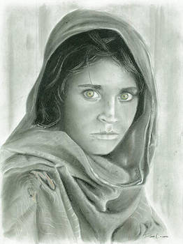 Afghan Girl in Charcoal by Duane Cabahug
