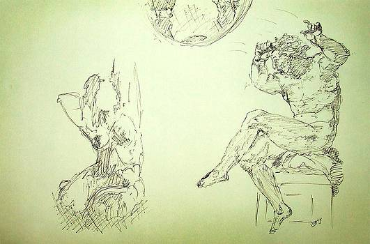 Agony and Atlas Sketch of Him Throwing the World onto Her as he Transforms Life Burden to Freedom by MendyZ M Zimmerman