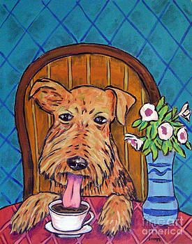 Airedale Terrier at the Coffee Shop by Jay  Schmetz