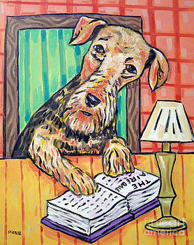Airedale Terrier at the Library by Jay  Schmetz