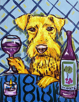 Airedale Terrier at the Wine Bar by Jay  Schmetz