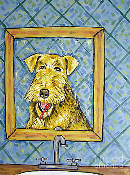 Airedale Terrier Bruching Teeth by Jay  Schmetz