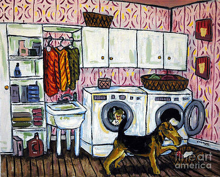 Airedale Terrier DOing the Laundry by Jay  Schmetz