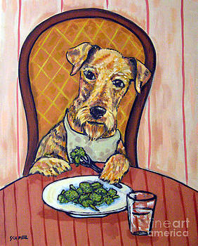 Airedale Terrier Eating Broccoli by Jay  Schmetz