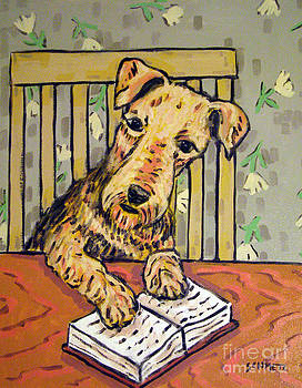 Airedale Terrier Reading by Jay  Schmetz
