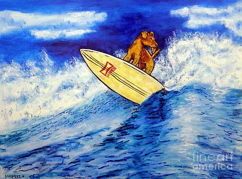 Airedale Terrier Surfing by Jay  Schmetz