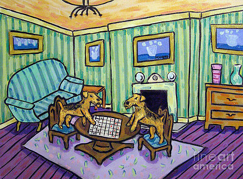 Airedale Terriers Playing Checkers by Jay  Schmetz